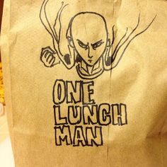 So today's lunchnote is more of a lunch BAG.  One-Punch Man for the pun!  #lunchnotes #fanart #onepunchman #saitama #lunchbag #sharpie #sharpieart by coldrok