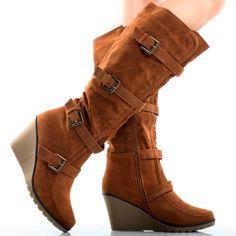 Brown Suede Cognac Buckle Western Tall Women Wedge High Heel