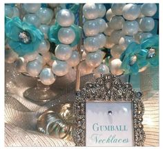 how cute! gum ball necklace! haha Hostess with the Mostess® - Tiffany Themed Wedding - Candy and Dessert Buffet