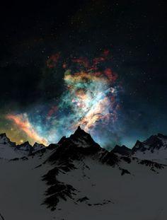 mountain, night skies, color, dream, northern lights, aurora borealis, star, cloud, bucket lists