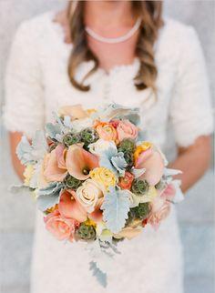 Green and peach wedding bouquet from weddingchicks.com!