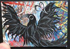 Bird Dance Art Aceo Atc Crow Painting Original by MagicLoveCrow