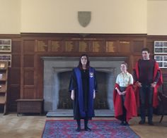 Sam, the Warden of St. Sally's Hall, with student leaders.