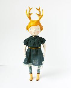 Antler girl art doll - Woodland articulated paper clay doll - One of a kind - Hand sculpted - handmade art doll. £190.00, via Etsy.
