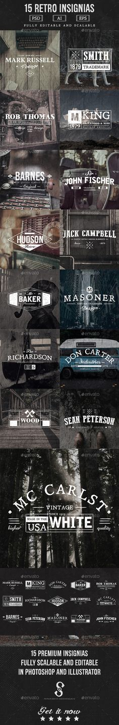 Buy 15 Vintage Insignias by sifron on GraphicRiver. This is a set of 15 vintage retro Insignias and Labels which can be used for printing, as logo, branding, products an. Typography Inspiration, Graphic Design Inspiration, Graphic Design Art, Typography Design, Branding Design, Lettering, Vintage Web Design, Retro Design, Badge Design