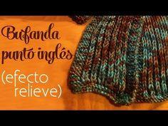 ▶ Cómo tejer: Bufanda en punto inglés (efecto de relieve) - dos agujas - YouTube