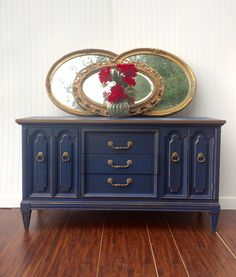 Navy Blue & Metallic Bronze/Gold Glazed Antiqued Buffet Sideboard TV Console Credenza Bathroom Vanity French Style Dresser Distressed by AwesomeFurnitureCo on Etsy https://www.etsy.com/listing/529350991/navy-blue-metallic-bronzegold-glazed