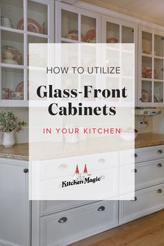 Glass-front cabinets add elegance and sophistication to any kitchen design. But, where are the best places to include them in your kitchen? We have creative ideas for using glass cabinets that will give the heart of your home an instant wow-factor! Classic Kitchen Cabinets, Distressed Kitchen Cabinets, Update Kitchen Cabinets, Contemporary Kitchen Cabinets, Kitchen Cabinet Styles, Kitchen Cabinet Organization, Cabinet Ideas, Glass Front Cabinets, Glass Cabinet Doors