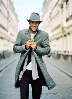 grey for fall, grey wool blend coat, black cardigan, white tee, grey scarf, dark pants / men fashion