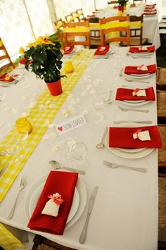 yellow gingham and red wedding theme www.davidpagephotography.com/