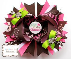 """5 inch """"Future Rodeo Queen"""" Bottle Cap Hair Bow with """"Cowgirls Rule"""" Ribbon and Silver Accent Cowgirl Boots (copyright Miss Maddie's Bowtique) $12.00"""