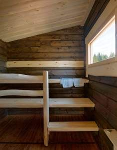 The lauteita look familiar and cozy. The window is fabulous! Sauna Design, Outdoor Sauna, Finnish Sauna, Interior Architecture, Interior Design, Cabins In The Woods, Home And Living, Relax, Cottage