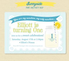 You Are My Sunshine First Birthday Party by sunnysideprintparty, $14.00