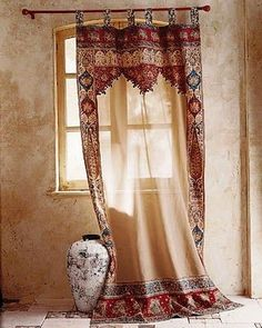 Moroccan Decor, light neutral colors with just a splash of bright colors - Home Stuff - Curtain Moroccan Bedroom, Moroccan Interiors, Moroccan Decor, Moroccan Curtains, Moroccan Style, Bohemian Curtains, Western Curtains, Moroccan Lanterns, Deco Boheme Chic