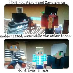 When aphmau is trying on costumes and its funny GARROTH, Laurence and Travis don't flinch probably because they r used to it