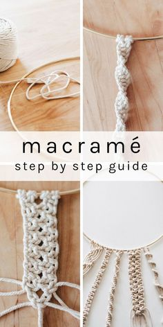 Learn how to make basic macrame knots with this step by step guide. Learn how to make basic macrame knots with this step by step guide. With just these four knots, you can make so many macrame projects. Wine Bottle Crafts, Mason Jar Crafts, Mason Jar Diy, Mason Glass, Diy And Crafts, Arts And Crafts, Crafts With Yarn, Creative Crafts, Fun Diy Crafts