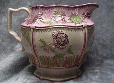 FREE POST UK - - Antique Large Pink lustre Ware Jug