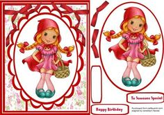 Little Miss red  on Craftsuprint designed by Ceredwyn Macrae - A lovely card front to make and give to any girl on her birthday Little miss red a lovely card has two greeting tags and a blank one for you to choose the greeting  - Now available for download!