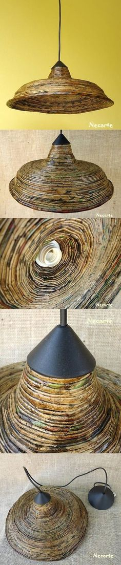 Rolled up strips of newspaper coiled around. Recycled Magazines, Recycled Crafts, Handmade Crafts, Luminaria Diy, Lampe Retro, Diy Lampe, Deco Luminaire, Magazine Crafts, Paper Weaving
