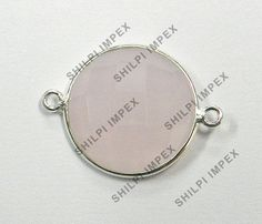 5Pc! Certified 925 Sterling Silver Rose Chalcedony Wholesale Lot Connector Charm