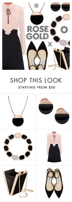 """""""So Pretty: Rose Gold Jewelry//FAUX FUR COAT"""" by shoaleh-nia ❤ liked on Polyvore featuring Skagen, Roberto Coin, Miu Miu and Jimmy Choo"""