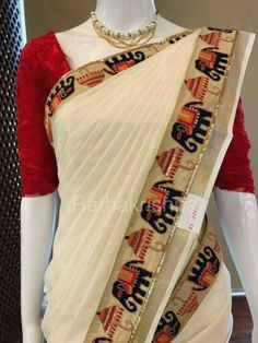 Cotton saree elephant border with blouse piece  Classic Indian Saris  Click VISIT link to read more   Indian Saris  CLICK Visit link above for more details