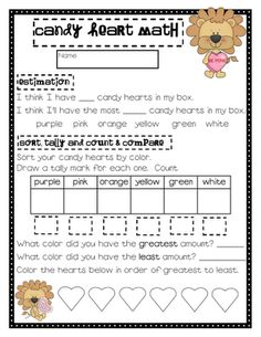 Cute & free candy heart math activity
