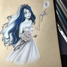 Emily the Corpse Bride and the beautiful butterfly Corpse Bride Art, Emily Corpse Bride, Tim Burton Corpse Bride, Tim Burton Art, Tim Burton Films, Tim Burton Personajes, Tim Burton Characters, Dark And Twisted, Creepy Art