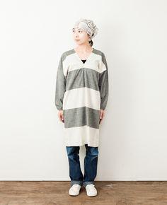 F/style 亀田縞のかっぽう着 (丈長め)白縞 生成+黒鼠:くらすこと