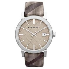 312d4afa87a Burberry Stainless Steel Watch with Smoked Check Strap in Brown (smoked  trench)