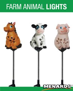 These Patriot Lighting® LED Solar Farm Animal Lights are a cute addition to your garden. Cow, horse, and pig miniatures with petal-like cut-outs cast pretty light patterns on lawns, walls, and garden beds. Landscape Lighting, Outdoor Lighting, Lawns, Pretty Lights, Cut Outs, Garden Beds, Farm Animals, Cow, Solar