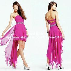 New Arrival DA353 Beaded Sweetheart Asymmetrical High Low Prom Dress Hot Pink $129.00