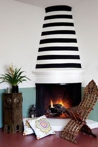 dig fireplace vignette (colors, stripes)   for cousin lora: Would this work in your upstairs den? Just a thought...