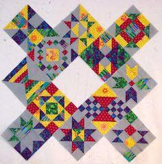 Canton Village Quilt Works: Blogger's BOM Block 13 Click on link to Karen Fielke's website for posting on Sept 25, 2012 BOM Star in a Star tutorial.