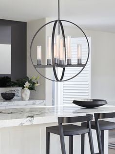 The Beacon Lighting Liberty 8 light round pendant in graphite