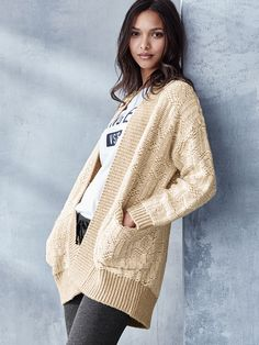 Oversized and loving every inch. We kind of can't get enough of this chunky cardi. | Victoria's Secret Open Cocoon Cardi