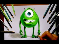 Speed Drawing: Mike Wazowski ► Monsters, Inc. ► Colored Pencils | Jasmina Susak - YouTube