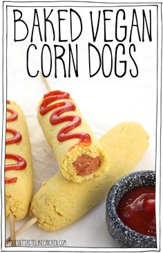Baked Vegan Corn Dogs! A healthier version of this awesome fair food made at home. Crispy, flaky, lightly sweet, seasoned cornmeal crust is so tasty, it tastes like the best cornbread ever is wrapped around your veggie dog. Serve hot out of the oven with ketchup or mustard and oooeee are you in for a treat! #itdoesnttastelikechicken #veganrecipes #bakednotfried #snack