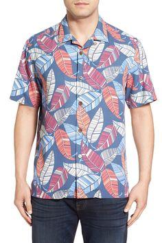 'Oo La La Leaf' Regular Fit Print Silk Camp Shirt