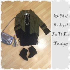 #Ootd #Outfitoftheday #hazel kimono #freepeople lace dress #toms shoe booties #satchel handbag #brighton necklace find it all at #latidaboutique where we #giftwrapforfree and are open until 8pm starting tomorrow ⛄️❄️