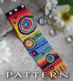 * * * PATTERN ONLY * * * Bead Pattern : Rainbow Bubbles Bracelet Cuff ✹ This pattern is a bright rainbow pattern in very bold colors woven Peyote Beading Patterns, Bead Loom Patterns, Loom Beading, Jewelry Patterns, Bracelet Patterns, Loom Bands, Art Perle, Seed Bead Jewelry, Seed Beads