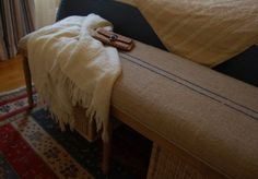 love the pinstripes on this burlap bench