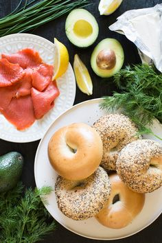 Bagels with Smoked Salmon and Herbed Avocado Spread Recipe