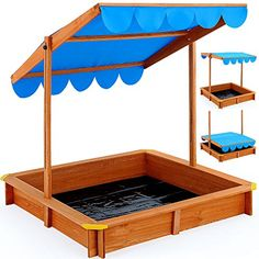 Great sandbox with height adjustable and water resistant canopy and ground…