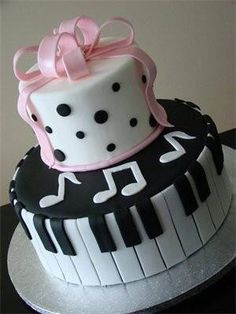 Simple Two-Tiered music themed birthday cake. Could also be a cake for a children's recital! Music Themed Cakes, Music Cakes, Teen Cakes, Girl Cakes, Pretty Cakes, Cute Cakes, Fondant Cakes, Cupcake Cakes, Bolo Musical