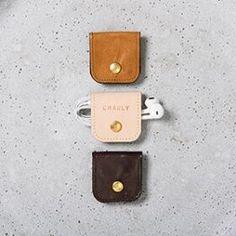 Personalised Leather Earphones Holder