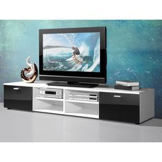 Contemporary TV Stand For Flat Screens In White With Gloss Doors