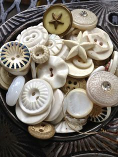 white Vintage button mix large lot of old by pinksewingroom, $6.75