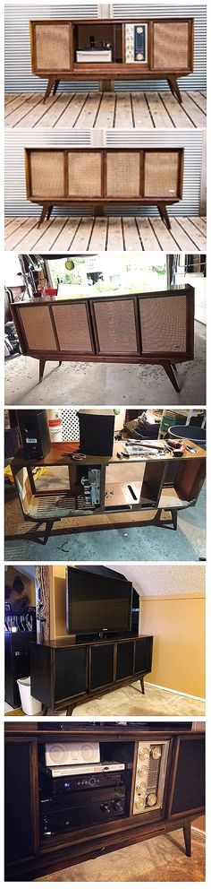 1963 Philips Console Stereo restored and repurposed into an entertainment cabinet. New speakers installed inside, an infrared relay inside to allow the doors to be closed with components inside, a wifi hotspot and iPod/iphone plug. Stand was stripped, sanded and stained darker with an ebony stain and then resealed with polyurethane.