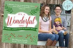 It's a Wonderful Life!  - Holiday Photo card with bible verse Luke 2:10